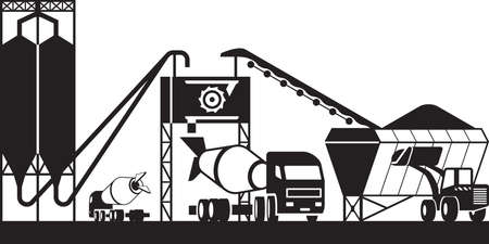 Concrete batching plant - vector illustration Stock Illustratie