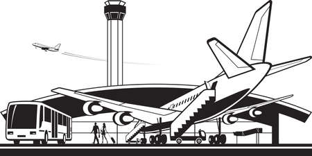 Aircraft landed at airport - vector illustration Illusztráció