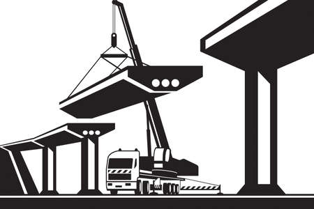 Mobile crane lifting part of a bridge - vector illustration