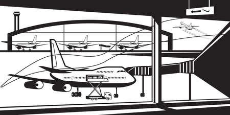 View to airport from termonal - vector illustration Illusztráció