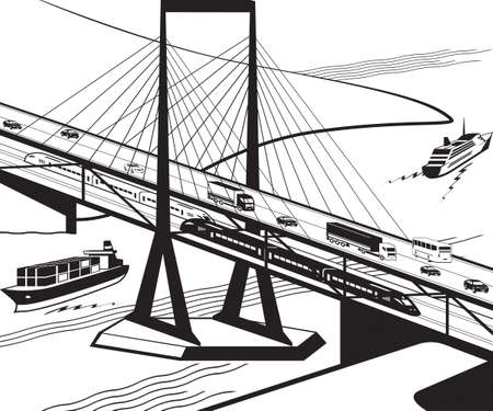 Multifunctional transportation bridge in perspective - vector illustration