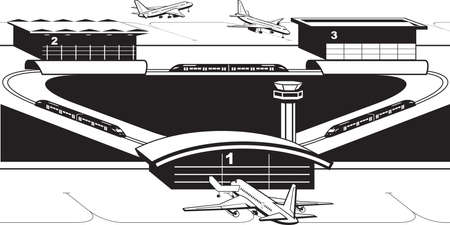 Transfer trains to airport terminals - vector illustration