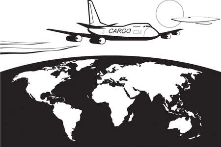 Cargo plane flying around the world Illusztráció