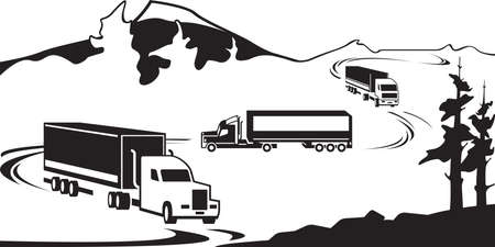 Trucks with goods cross the mountain in winter