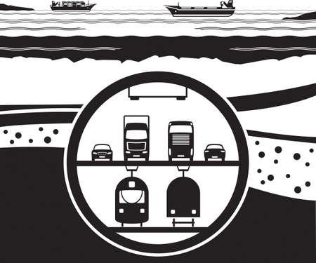 Multifunctional railway and highway tunnel under sea Illustration