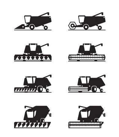 Combine harvester in different perspective