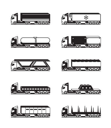 Trucks with trailers from above - vector illustration