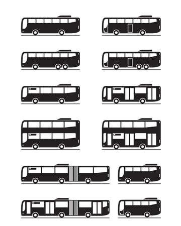 Divers bus de transport public - illustration vectorielle