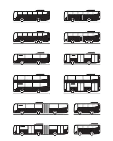 Various public transport buses - vector illustration Vectores