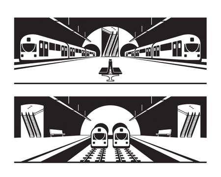 Différentes stations de métro avec des trains - illustration vectorielle