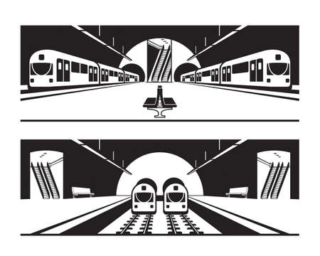 Different subway stations with trains - vector illustration
