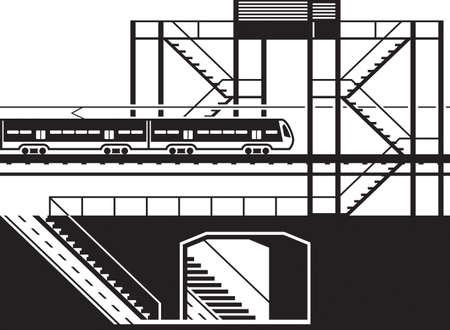 Railway pedestrian underpass and overpass