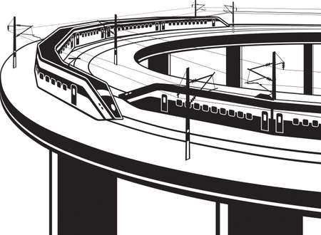 Passenger trains cross the bridge - vector illustration Illusztráció