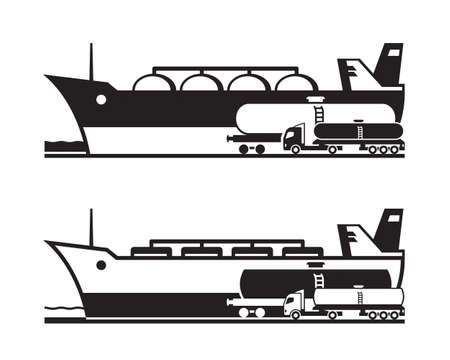 Transportation of oil and gas by land and water Illustration