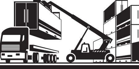 Forklift loading truck with cargo container - vector illustration