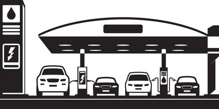 Cars at charging and petrol station - vector illustration