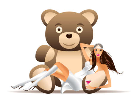 Pretty girl has fun with teddy bear - vector illustration