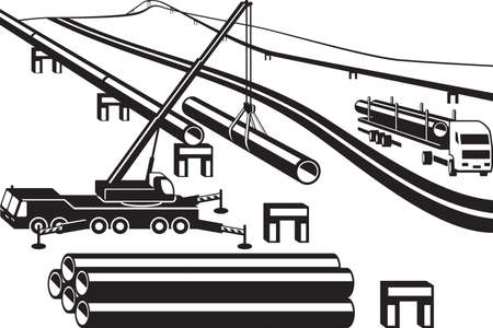 Building of above ground pipeline - vector illustration Illusztráció