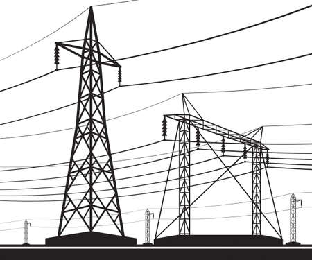 Different electrical transmission lines - vector illustration