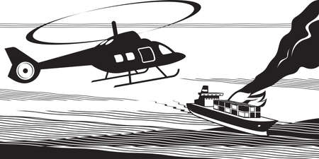 Rescue helicopter approach maritime accident - vector illustration