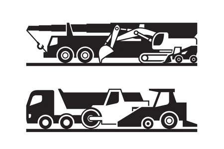 Road construction machinery icon set - vector illustration