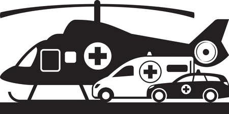 Erste Hilfe zu Lande und in der Luft – Vektorillustration