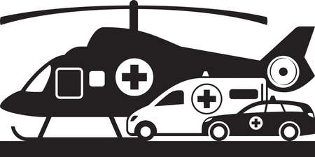 First aid on land and air – vector illustration