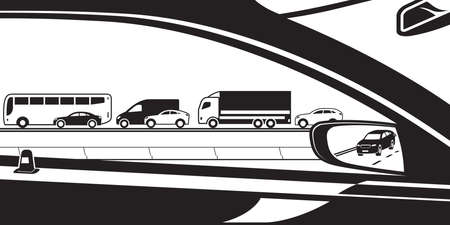 View from car to highway flow - vector illustration
