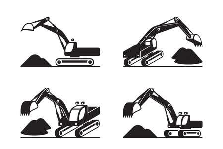 Heavy construction excavator in different perspective Ilustración de vector