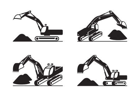 Heavy construction excavator in different perspective