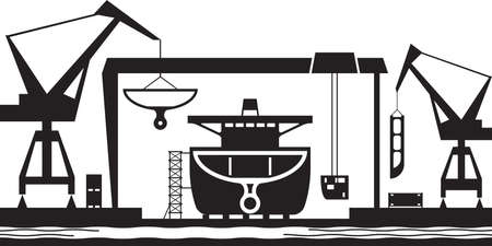 Shipbuilding industry background - vector illustration