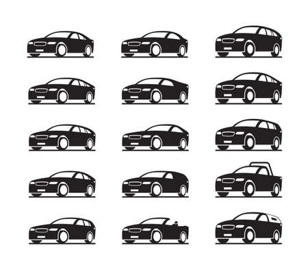 Modern cars in perspective – vector illustration