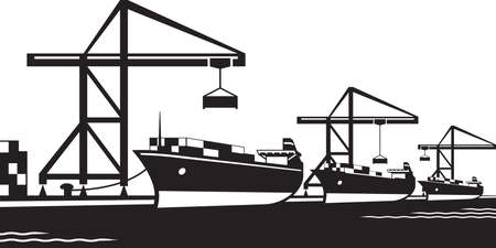 Cargo ships at industrial port - vector illustration Illusztráció