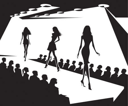 Runway models on fashion show in black and white Vettoriali