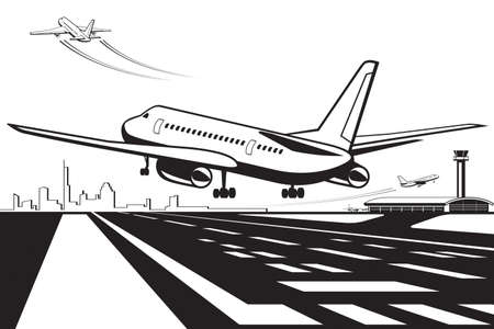 Aircraft touchdown on runway at airport Illustration