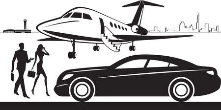 Luxury car service from airport – vector illustration Illusztráció