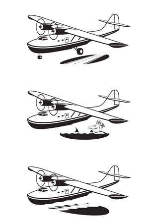 Water Plane over land sky and sea - vector illustration Illusztráció