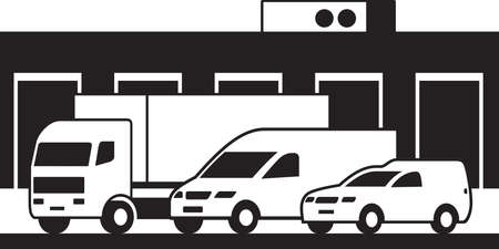 Cargo vehicles and warehouse – vector illustration Illusztráció