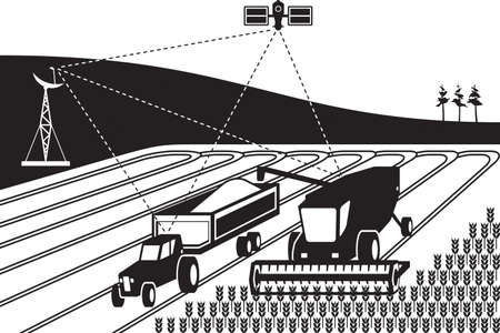 Tracking of agricultural machinery - vector illustration Illusztráció