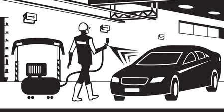 Car paint service – vector illustration