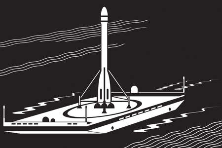 Launch of space rocket from sea platform – vector illustration
