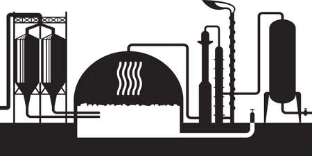 Industrial biogas plant – vector illustration Stock Illustratie