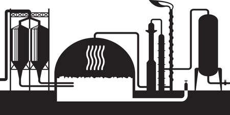 Industrial biogas plant – vector illustration Illusztráció
