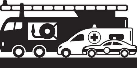Police car, ambulance bus and fire truck – vector illustration