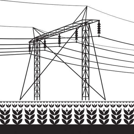 High voltage power line over the field with plants – vector illustration