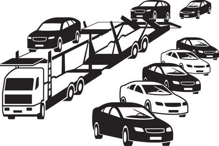 Truck unloads at a car dealership – vector illustration