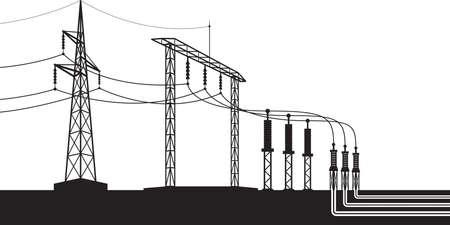 Overground and underground electricity transmission grid – vector illustration