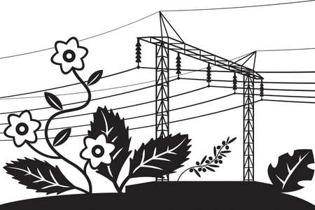 Electrical power line over field with flowers – vector illustration