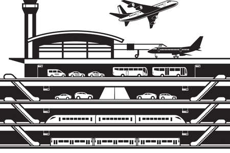 Airport transportation hub – vector illustration