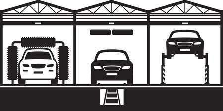 Car service with stand, canal and carwash - vector illustration